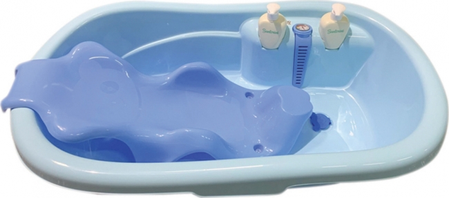 CANGAROO BABY BATH TUB SANTORINI BLUE  ΜΕ ΤΑΠΑ ΚΑΙ ΘΕΡΜΟΜΕΤΡΟ