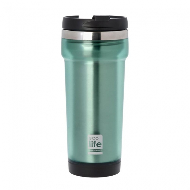 ECOLIFE 33BO4007 COFFEE THERMOS MUG PLAST GREEN 420ML