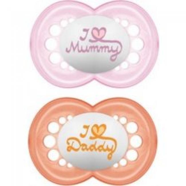 MAM I LOVE MUMMY & DADDY X2 ΠΙΠΙΛΑ ΣΙΚΟΝΗ 6+ ΜΗΝΩΝ ΡΟΖ- ΠΟΡΤΟΚΑΛΙ (170S)