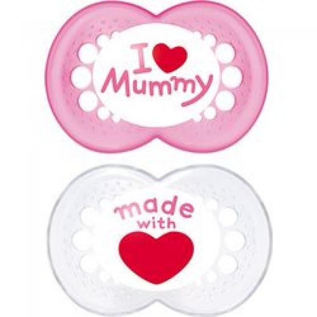 MAM I LOVE MUMMY & DADDY X2 ΠΙΠΙΛΑ ΣΙΚΟΝΗ 6+ ΜΗΝΩΝ ΡΟΖ- ΛΕΥΚΟ (170S)