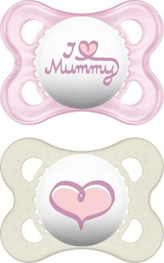 MAM I LOVE MUMMY & DADDY X2 ΠΙΠΙΛΑ ΣΙΛΙΚΟΝΗ 0-6 ΜΗΝΩΝ (115S) ΡΟΖ-ΛΕΥΚΟ
