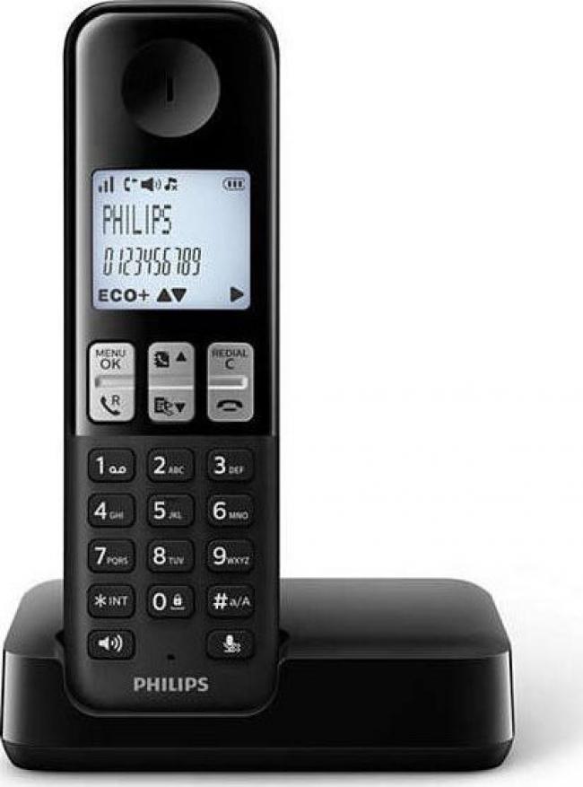 PHILIPS D2501B/GRS Ασύρματα Τηλέφωνα Black