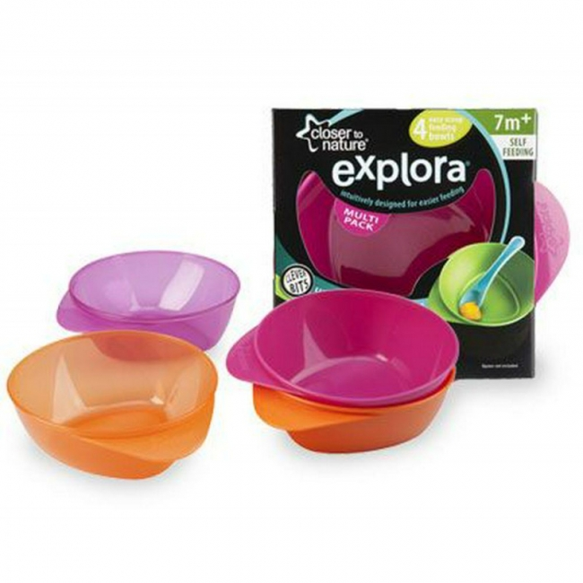 TOMMEE TIPPEE EXPLORA EASY SCOOP FEEDING BOWLS X4 ΜΩΒ - ΠΟΡΤΟΚΑΛΙ
